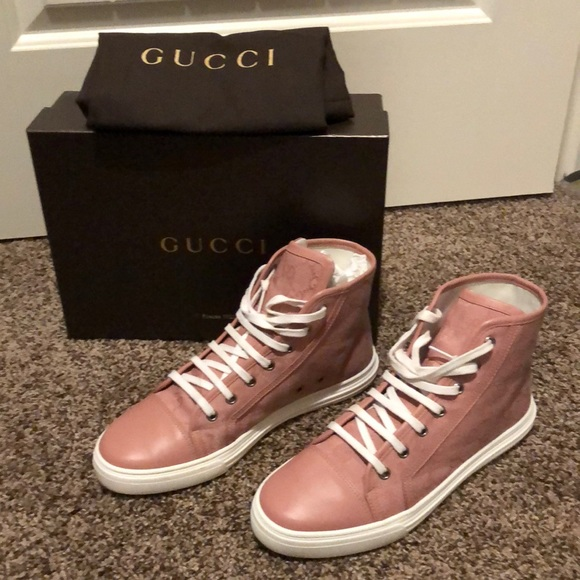 271fe2b9d81 Gucci Shoes - Gucci pink leather and canvas gg sneakers sz39.5